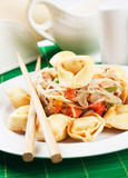 Deep fried asian noodles with vegetables