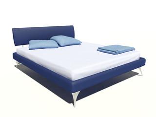 Modernes Bett blau