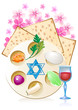 Jewish celebrate pesach passover with matzo,flowers, wine