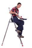 Woman sat on ladder with paint roller