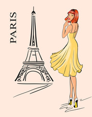Paris. Girl and Eiffel tower