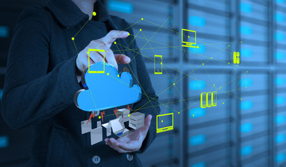 Businesswoman working with a Cloud Computing diagram on the new