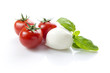 mozzarella, tomatoes, basil, clipping path included