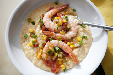 shrimp and grits with sauteed vegetables