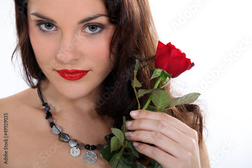 Brunette with a red rose