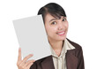 a young businesswoman smiling and carrying a blank paper, isol