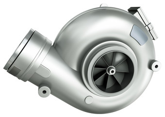 Turbocharger isolated on a white background. 3D render
