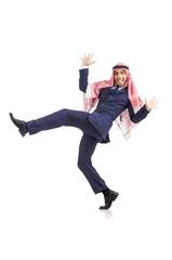 Arab man dancing from joy