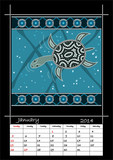 A calender based on aboriginal style of dot painting depicting l