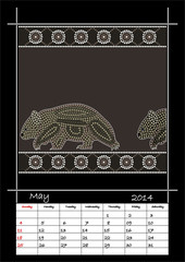 A calender based on aboriginal style of dot painting depicting w