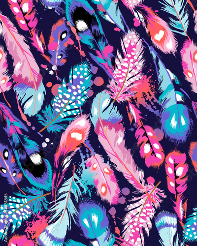 Cotton fabric beautiful feather vector seamless background