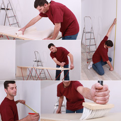 Collage of man renovating a house