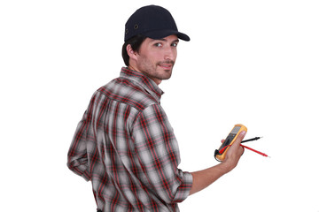 Electrician making safety checks