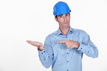 Entrepreneur gesturing on white background