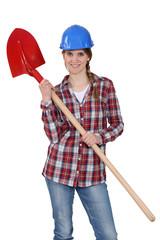 Woman wearing hard hat