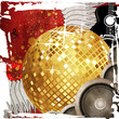 Gold disco ball on red background