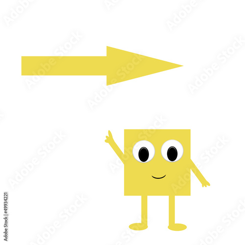 Fan post-it with yellow arrow