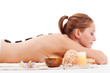 woman with closed eyes receiving spa