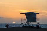 huntington Beach surfer sunset