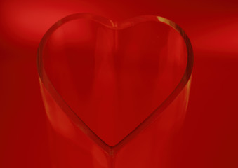 Heart made of glass on red background - grunge