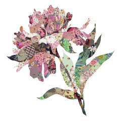 peony quilt collage