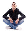 Young man sitting cross legged