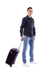 Young traveler with suitcase