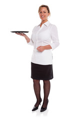 Waitress with empty tray