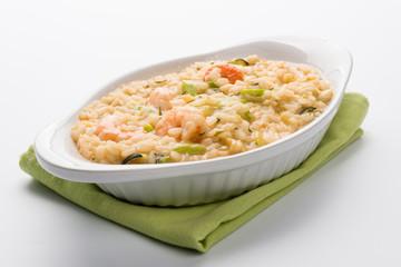 Risotto con zucchini e gamberi - Rice with zucchini