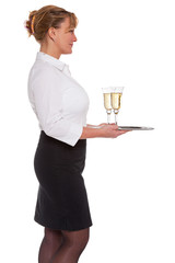 Champagne reception waitress