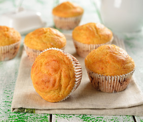 Corn muffins on a white table