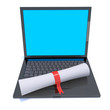 Certificate rests on laptop