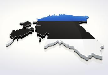 Carte de l'Estonie 3D drapeau sur fond blanc