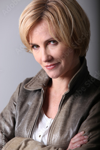 Portrait of a woman in a leather jacket