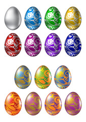 Colored Easter eggs with ornament