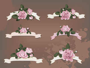 collection of a different ribbon roses