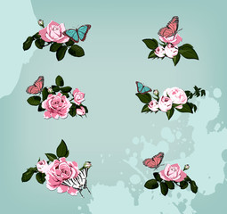 collection of roses with butterflies