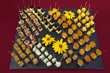 canapes catering with fruit and cheese