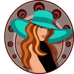 Mujer elegante con sombrero y vestido
