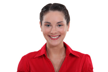 Smiling woman in a red shirt