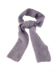 Nice gray woolen scarf isolated on white background