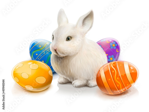 Easter rabbit with colored eggs. Illustration isolated on