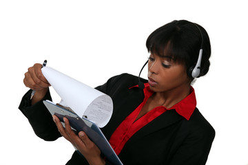 Call-center worker with clip-board
