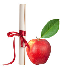 Graduation diploma scroll with red apple