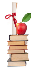 Diploma with red ribbon,books and apple