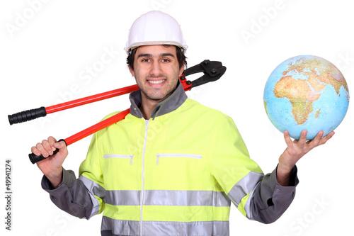Workman holding globe