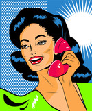 Fototapety Lady Chatting On The Phone - Retro Clip Art