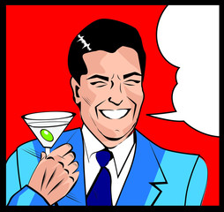 Retro man drink Cocktails Toasting - Retro Clip Art
