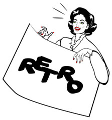 Showcard Girl Vintage Retro Clip Art