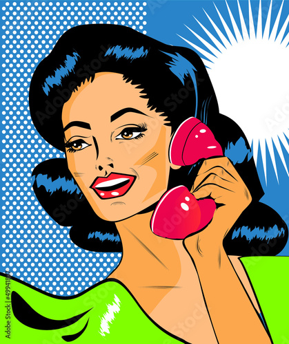 Keuken foto achterwand Comics Lady Chatting On The Phone - Retro Clip Art